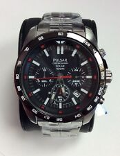PULSAR Sport Collection Stainless Steel 100M Solar Chronograph WATCH PZ5005