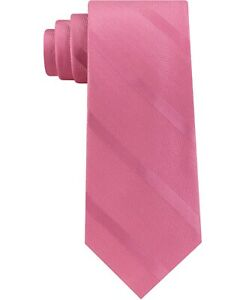 Tommy Hilfiger Men's Pink Textured Stripe Silk Tie ONE SIZE