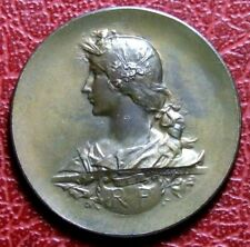 Art Nouveau French Republic Marianne as peasant medal by Adolphe Rivet.