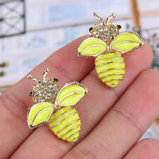 Honey Bee Insect Stud Earring w Yellow Rhinestone Crystal -E267
