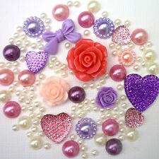 14g PINK & LILAC Pearls/Roses Flatback Kawaii Cabochons Decoden Crafts Kitsch