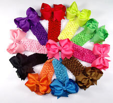 "4"" 10 pcs Baby Infant Girl Costume Boutique Hair Bows Clips Heabands H2 gfff"