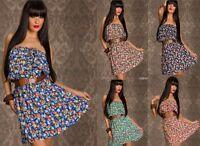 Vestito Donna Abito Miniabito MISS 83 B451 Blu Verde Tg Unica veste S/M
