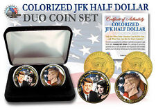 John F Kennedy 24K GOLD 2-Coin US duo Set with black velvet jewelry gift box.
