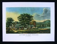 Currier & Ives Print - Autumn in New England Cider Making - Apple American Farm