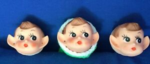 3 Vintage Pixie Elf Half Heads Plastic NOS Made Korea