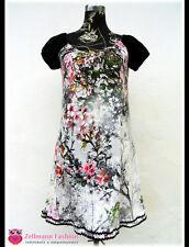 Jersey Blätter Blumentunika weiß bunt Kleid Tunika Gr. 38 M kurz arm Kleid