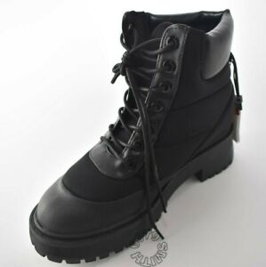 Zara Black Flat Quilted Premium Mountain Boots Size 4 BNWT