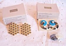 AVON 2 PAIR EARRINGS -CONVERTIBLE 3 IN ONE:BLACK-BLUE-WHI + GOLD BOLD DIMENSIONS
