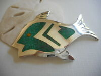 Vintage Mexico Taxco Sterling Silver Mosaic Turquoise Inlay Fish Brooch  720A