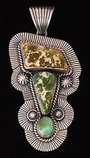 Navajo Handmade Silver Pendant with Manassa Turquoise by Albert Jake