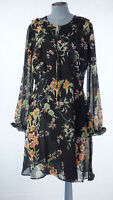 M&S Limited Edition Black Floral Print Chiffon Lined Fit & Flare Dress UK 12