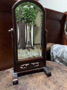 Beautiful Small Table Flax Wood Swivel Mirror
