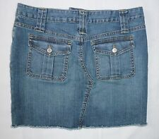 THE LIMITED jeans MINI SKIRT size 4 button flap pockets frayed stretch