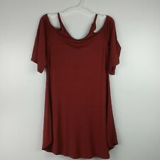 Nelly Womens Tunic Top Size Small Cold Shoulder Knit USA Marsala NWOT