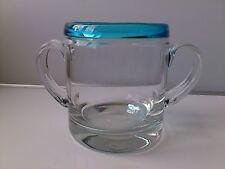 Holmegaard Ice Bucket.White with bright blue rim. 13.5 cm tall.Scandinavia.