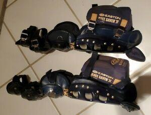 EASTON GEN IV AIR BASEBALL CATCHER LEG GUARDS & KNEE SAVERII SET~COST OVER $120.
