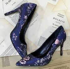 Charles David Shoe Heel Pump blue pink Satin Floral 8.5 NIB