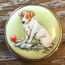 Crummles Hand Painted Jack Russell Terrier Dog on Green Enamel Pill Box
