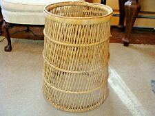 Vtge 70s Woven Rattan Accent End Side Table Wicker Boho Beach 22