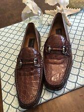 MEZLAN PLATINUM Solid Brown CROCODILE Loafer Dress Shoes Horsebit Euc - 11 M