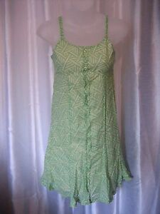 Hype Junior Size Green/Blue/Cream 100%Cotton Spaghetti Strap Sundress Sz 12 NWNT