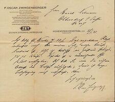 HOHENSTEIN-ERNSTTHAL, Brief 1925, Socken, Strümpfe, Unterzeug F. O Zwingenberger
