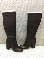 Steve Madden GENE Black Leather Side Zip Knee High Boots Women's Size 10 M