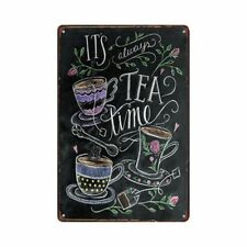 Metal Tin Sign it's always tea lime Decor Bar Pub Vintage Retro Cafe ART
