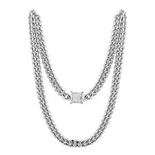 """White Gold Finish Miami Cuban Necklace 12mm Chain Stainless Steel 24"""" Box Lock"""
