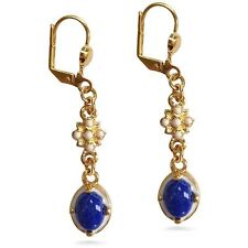 "Elizabethan Lapis Lazuli Earrings 1-1/8"" Long Gold-Plated Museum Jewelry"