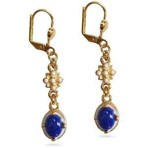 "Elizabethan Lapis Lazuli Earrings 1-1/8"" Long Gold-Plated Museum Jewelry"