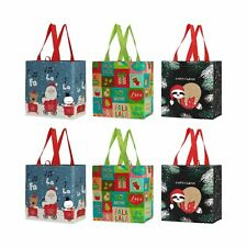 Reusable Grocery Bags Shopping Totes Heavy Holiday Xmas Christmas (Pack of 6)