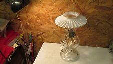 Antique Glass Oil Lamp & Milk Glass Petticoat Shade