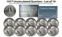 1977 US MINT QUARTERS Uncirculated Coins from U.S. Mint Cello Packs (QTY 10)