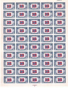 United States Scott # 911 Norway Overrun Countries Issue Uncut Stamp Sheet MNH