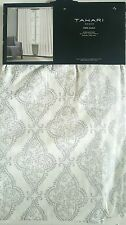 New 2 Tahari Silver White Metallic Medallions Window Curtain Panels 96