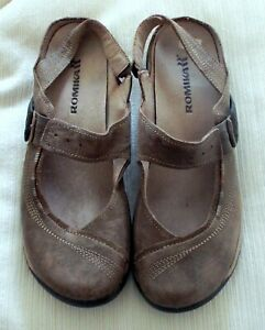 Romika light brown leather slingback shoes lagenlook size 40