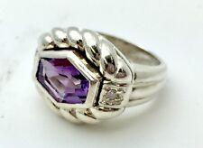 Judith Ripka Cubic Zirconia 925 Solid Sterling Silver Amethyst Ring Fashion CZ