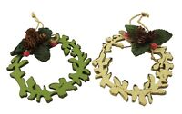 Gisela Graham Christmas Pair of Rustic Wooden Wreath Tree Decorations