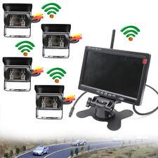 """4x Funk Rückansicht Rückfahrkamera Nachtsicht 2,4 GHz 18 LED + 7"""" LCD Monitor"""