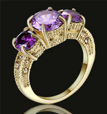 Size 8  Purple Amethyst Crystal Ring 18K Yellow Gold Filled Engagement Wedding