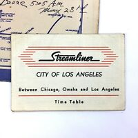 Vintage Union Pacific Railroad Steamliner card envelope, 1947 Los Angles to Iowa