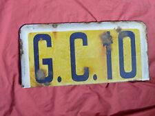 plaque émaillée ancienne G.C.10 , élément de panneau de signalisation routière