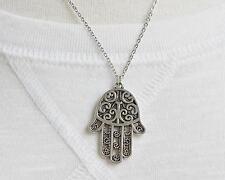 """Silver hamsa necklace filigree pendant dangle 19"""" long chain hand of fatima"""