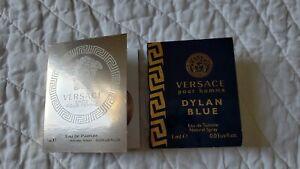 2 Lot VERSACE Perfume Samples WOMAN DYLAN BLUE 1ml - EROS POUR FEMME 1ml