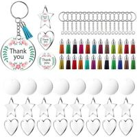 72 Pieces Acrylic Transparent Discs,Blanks Charms and Tassel Pendants, Keyr A2N3