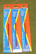 REEVES PONY HAIR No 4 ROUND PAINT BRUSH x 3 Ideal For WATER & POSTER COLOURS ETC