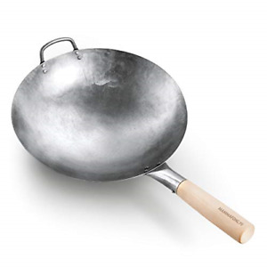 Authentic Hand Hammered Wok, 14 Inch Carbon Steel Chinese Pow Wok, Traditional