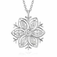 925 Sterling Silver White Cubic Zirconia CZ Pendant Necklace Gift Size 20'' Ct 2